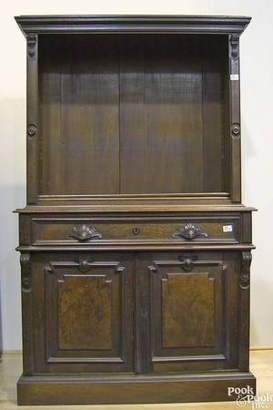 Victorian walnut desk and bookcase