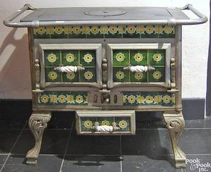 Cast iron stove with decorative tiles