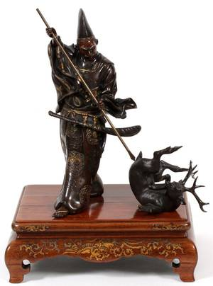 JAPANESE SIGNED BRONZE FIGURAL SCULPTURE