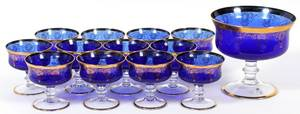 VENETIAN BLUE  CLEAR GLASS CHAMPAGNES  PUNCH BOWL