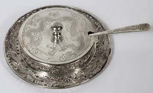 CHINESE SILVER COVERED BUTTER DISH W KNIFE C 1940