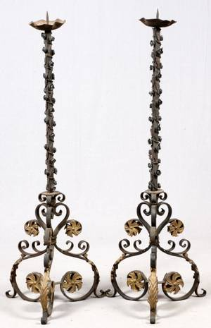 WROUGHT IRON FLOOR STANDING CANDLE PRICKETS PAIR