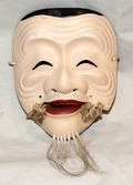 3131 JAPANESE LACQUERED WOOD MASK OF OKINA H 6 34