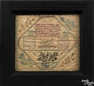 Silk on linen needlework sampler dated 1824 wrought by Margaret Chapman