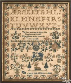 English or Scottish silk on linen needlework dated 1836 wrought by Sarah S King