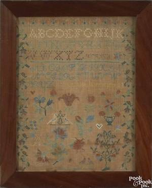 Pennsylvania silk on linen sampler dated 1833 and wrought by Eliza B Wright