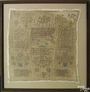 Chester County Pennsylvania silk on gauze Baldwin family record sampler wrought by Ann Baldwin 1825