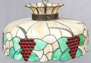 LEADED GLASS CHANDELIER CIRCA 1920