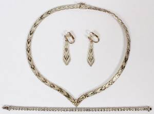 STERLING SILVER NECKLACE BRACELET AND EARRINGS