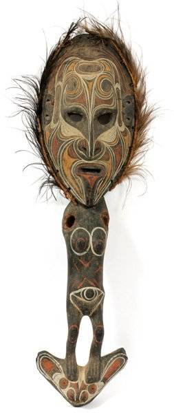 AFRICAN CARVED WOOD  POLYCHROME DREAM MASK