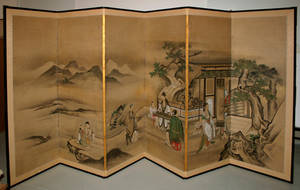 3165 CHINESE HAND PAINTED SIXPANEL SCREEN 19TH CENTU