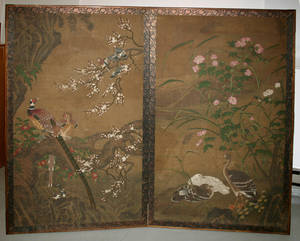 3164 CHINESE HAND PAINTED TWO PANELED SCREEN 19TH CEN