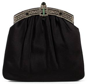 JUDITH LEIBER BLACK SATIN EVENING BAG