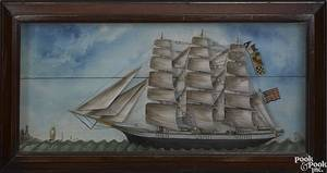 American carved and painted ship diorama ca 1900