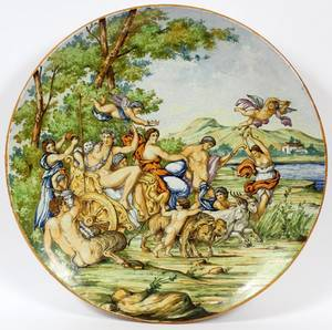 ITALIAN MAJOLICA POTTERY CHARGER 19TH C