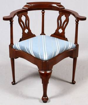HARDEN CHIPPENDALE STYLE MAHOGANY CORNER CHAIR