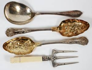 STERLING  ENGLISH SILVERPLATE BERRY SPOONS ETC
