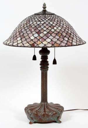 LAVENDER LEADED GLASS LAMP AFTER TIFFANY