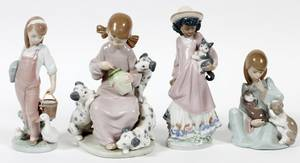LLADRO PORCELAIN FIGURES OF GIRLS  ANIMALS FOUR