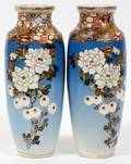 SATSUMA JAPANESE POTTERY VASES 19TH C PAIR