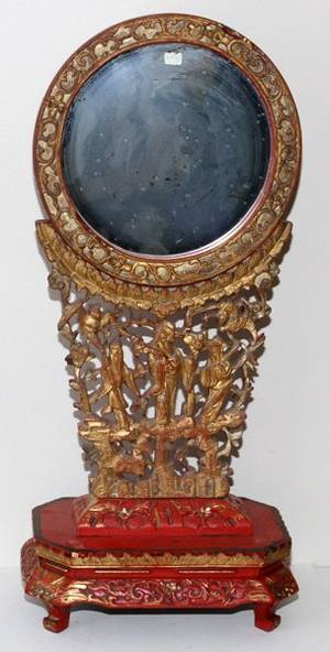 CHINESE CARVED WOOD  POLYCHROME MIRROR