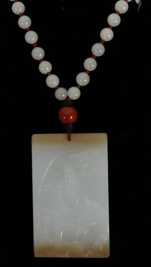 CHINESE JADE PENDANT ON 22 JADE BEAD NECKLACE