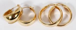14KT YELLOW GOLD HOOP EARRINGS TWO PAIRS