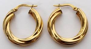 18KT YELLOW GOLD HOOP EARRINGS PAIR