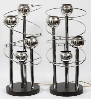 MIDCENTURY STYLE CHROME FOURLIGHT LAMPS PAIR