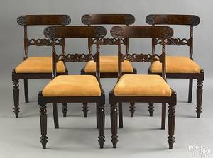 Set of 5 Baltimore late Federal mahogany dining chairs ca 1835