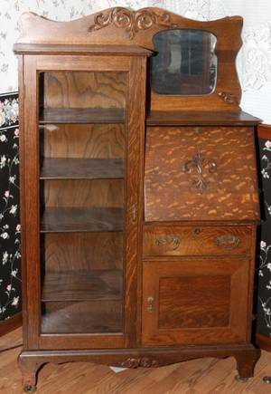 AMERICAN OAK SECRETARYBOOKCASE C 1900