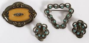 FRENCH AND GERMAN BROOCHES AND EARRINGS 4 PCS