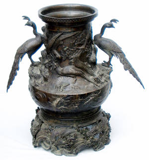 3309 JAPANESE BRONZE URN WITH BIRDS 19TH CENTURY H 18