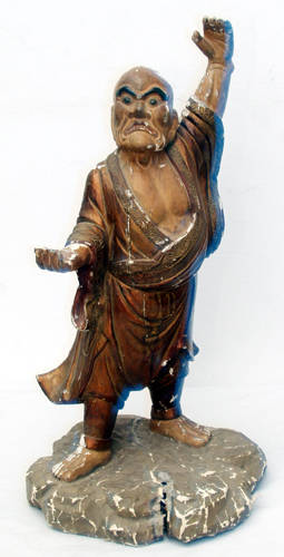 3307 CHINESE CARVED WOOD SCULPTURE 18TH CENTURY H 20