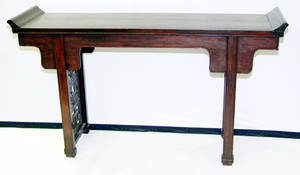 3271 CHINESE TEAKWOOD TEMPLE TABLE CIRCA 1900 H 35
