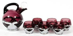 FARBER BROS CHROME  CAMBRIDGE GLASS CORDIAL SET