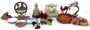 ORIENTAL ART SOOCHOW CINNABAR JADE CARVED WOOD ETC