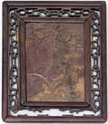 3321 CHINESE FRAMED SOAPSTONE PLAQUE H 125 OVERALL