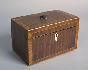 George III mahogany inlaid tea caddy late 18th c