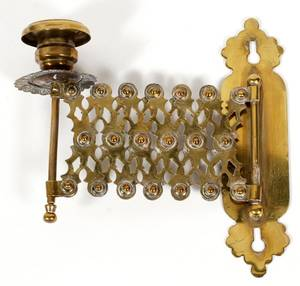 ANTIQUE BRASS TELESCOPING CANDLE SCONCE