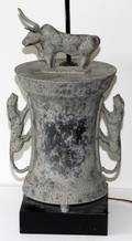 ETRUSCAN STYLE METAL VESSEL FORM LAMP OVERALL