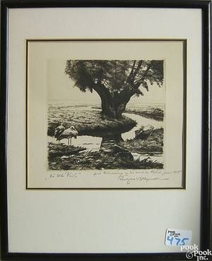 Three Continental pencil signed engravings