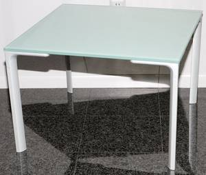 MODERN GLASS TOP TABLE SQUARE TOP