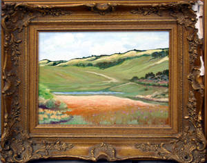 22263 AMERICAN SCHOOL OIL ON CANVAS FIELD LANDSCAPE