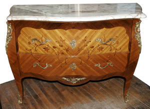 020070 LOUIS XV STYLE MARBLE TOP COMMODE H 35 L 49