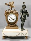 121118 FRENCH GILDED SPELTER FIGURAL MANTEL CLOCK CIR