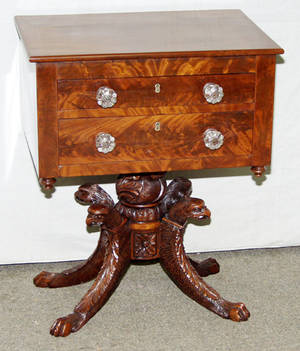 1076 AMERICAN EMPIRE CARVED MAHOGANY WORK TABLE CIRCA
