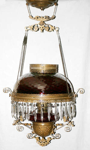 1068 VICTORIAN RUBY GLASS HANGING CHANDELIER 19TH CEN