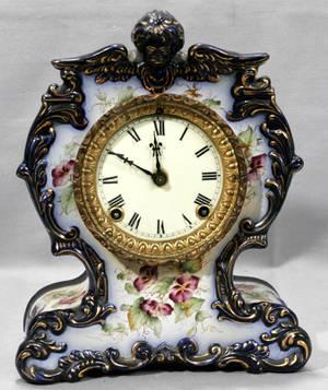 011153 VICTORIAN CERAMIC CASE MANTLE CLOCK 1880 H 11