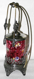 011133 CRANBERRY WITH ENAMEL PICKLE CANISTER WITH SILV